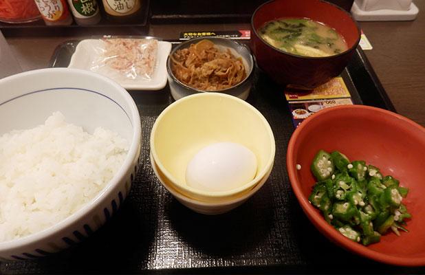 朝まぜごはん牛小鉢定食(350円)