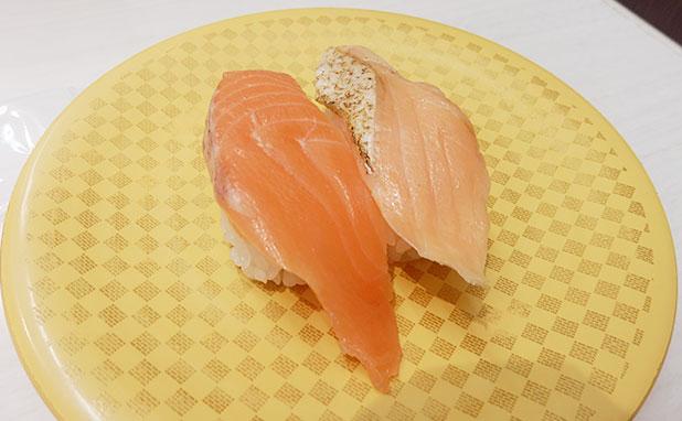 サーモン・焼きサーモンの合い盛り(108円)
